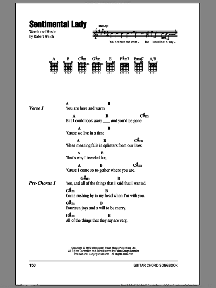 Sentimental Lady sheet music for guitar (chords) by Bob Welch, intermediate guitar (chords). Score Image Preview.