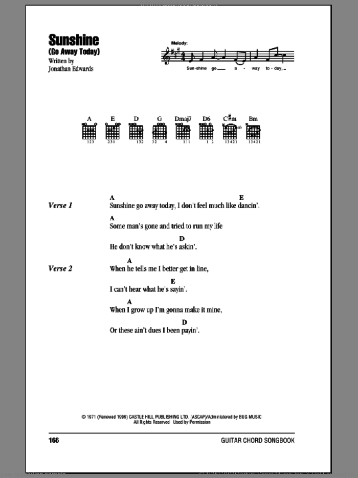 Sunshine (Go Away Today) sheet music for guitar (chords) by Jonathan Edwards. Score Image Preview.