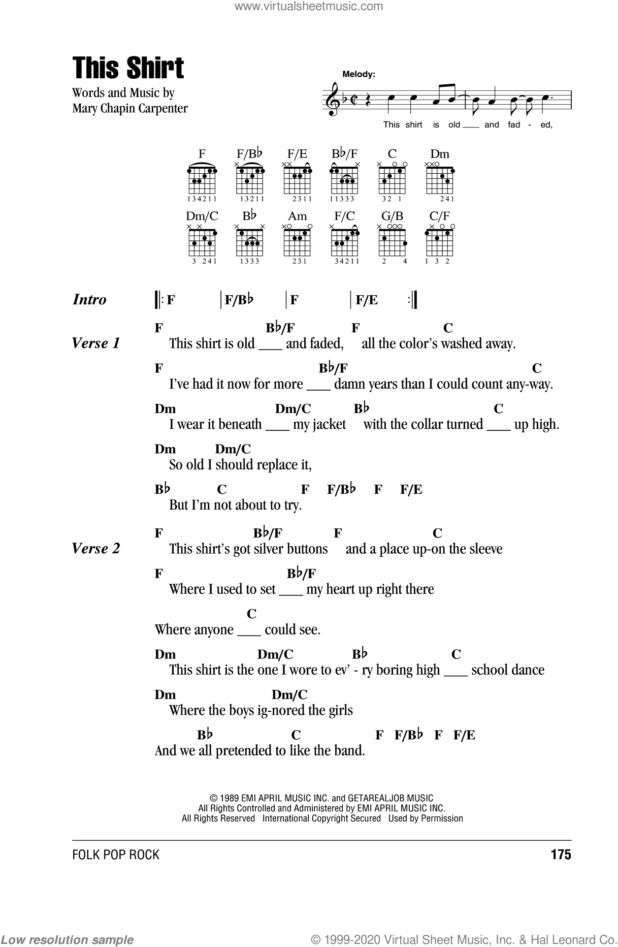 This Shirt sheet music for guitar (chords) by Mary Chapin Carpenter, intermediate skill level