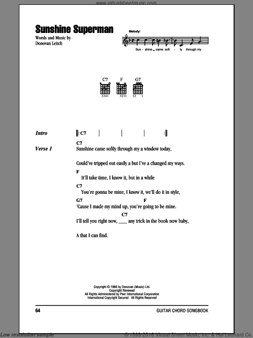 Sunshine Superman sheet music for guitar (chords) by Walter Donovan. Score Image Preview.