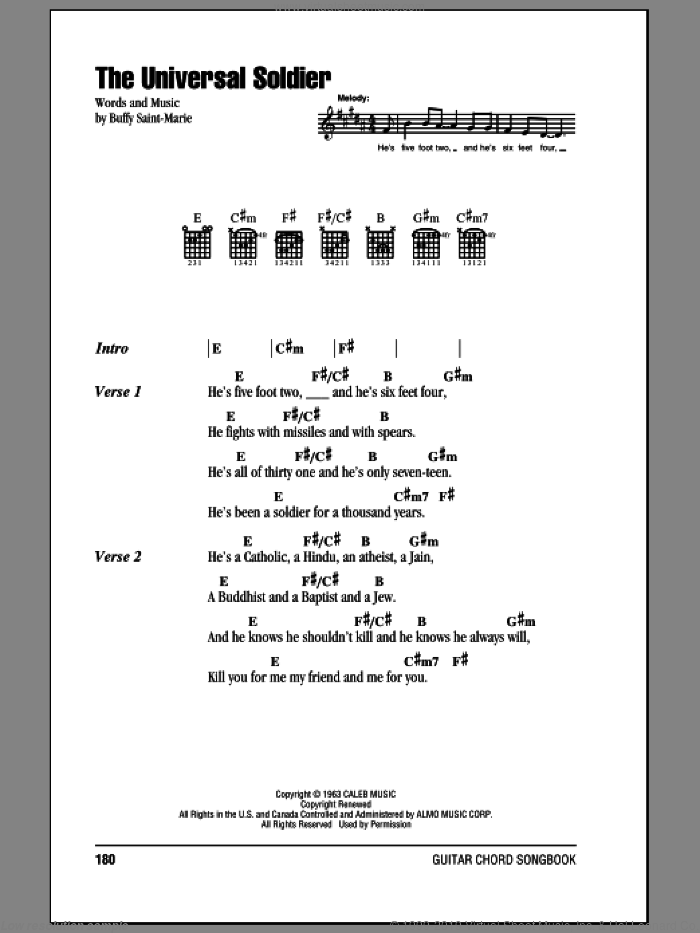 The Universal Soldier sheet music for guitar (chords) by Buffy Sainte-Marie and Walter Donovan, intermediate. Score Image Preview.