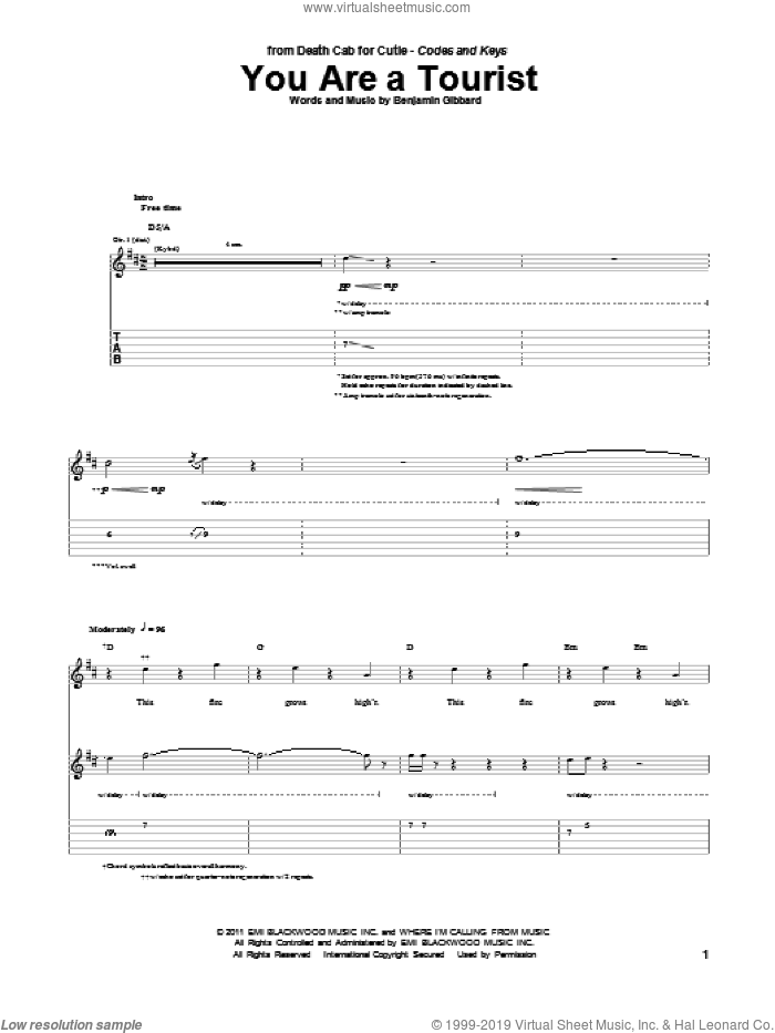 You Are A Tourist sheet music for guitar (tablature) by Benjamin Gibbard and Death Cab For Cutie. Score Image Preview.