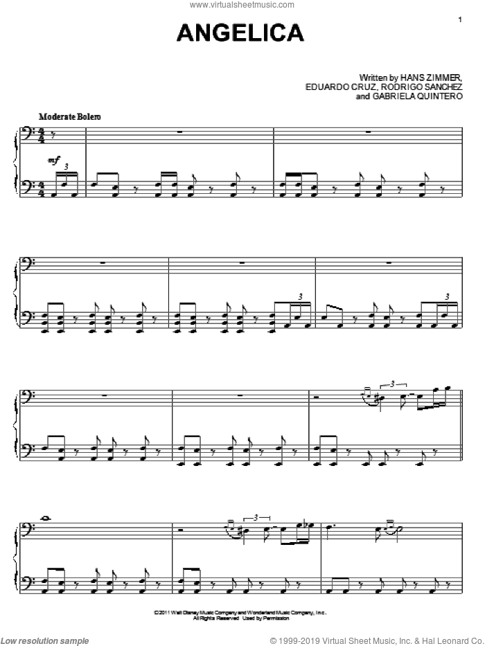 Angelica sheet music for piano solo by Hans Zimmer, Pirates Of The Caribbean: On Stranger Tides (Movie), Eduardo Cruz, Gabriela Quintero, Rodrigo Sanchez and Rodrigo y Gabriela, intermediate skill level