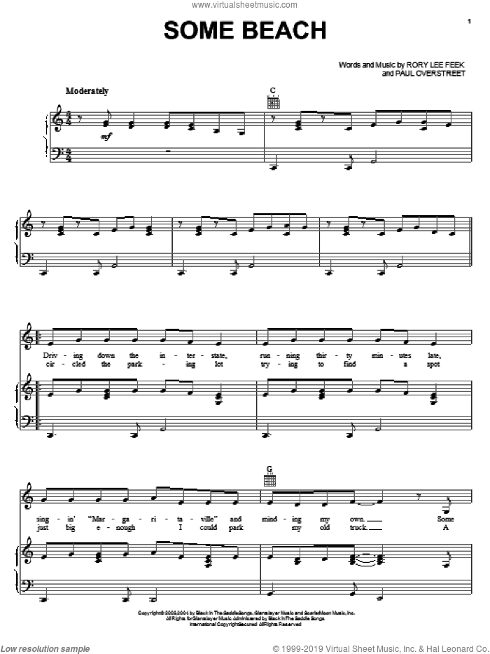 Some Beach sheet music for voice, piano or guitar by Blake Shelton, Paul Overstreet and Rory Lee Feek, intermediate skill level