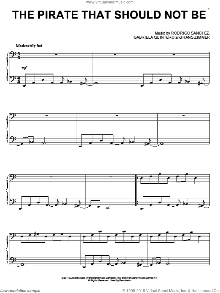 The Pirate That Should Not Be, (intermediate) sheet music for piano solo by Hans Zimmer, Pirates Of The Caribbean: On Stranger Tides (Movie), Gabriela Quintero, Rodrigo Sanchez and Rodrigo y Gabriela, intermediate skill level