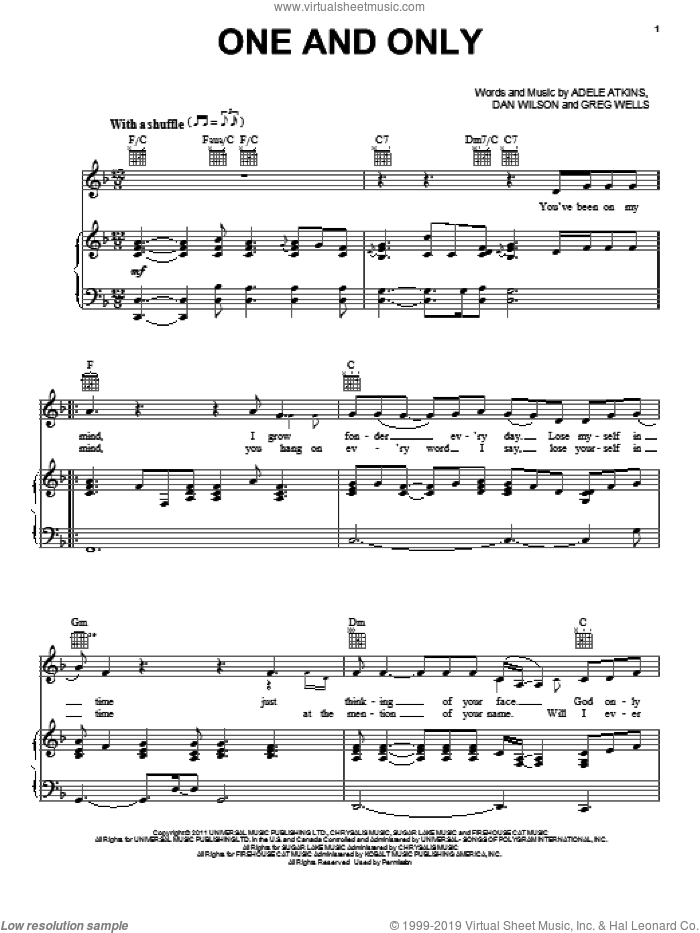 One And Only sheet music for voice, piano or guitar by Adele, Dan Wilson and Greg Wells, intermediate
