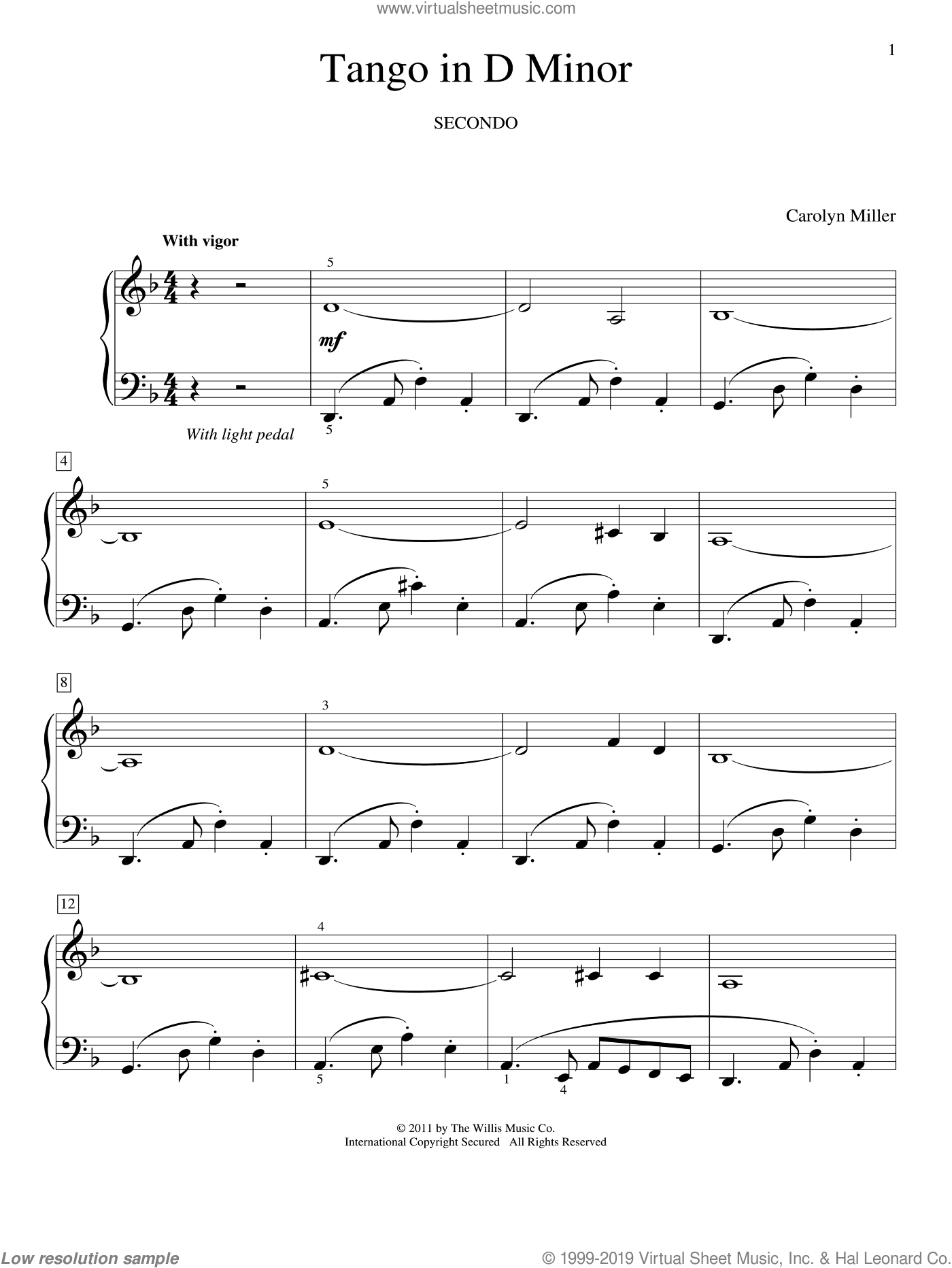 Tango In D Minor sheet music for piano four hands (duets) by Carolyn Miller. Score Image Preview.
