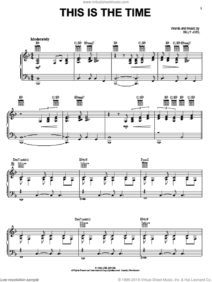 This Is The Time sheet music for voice, piano or guitar by Billy Joel, intermediate skill level