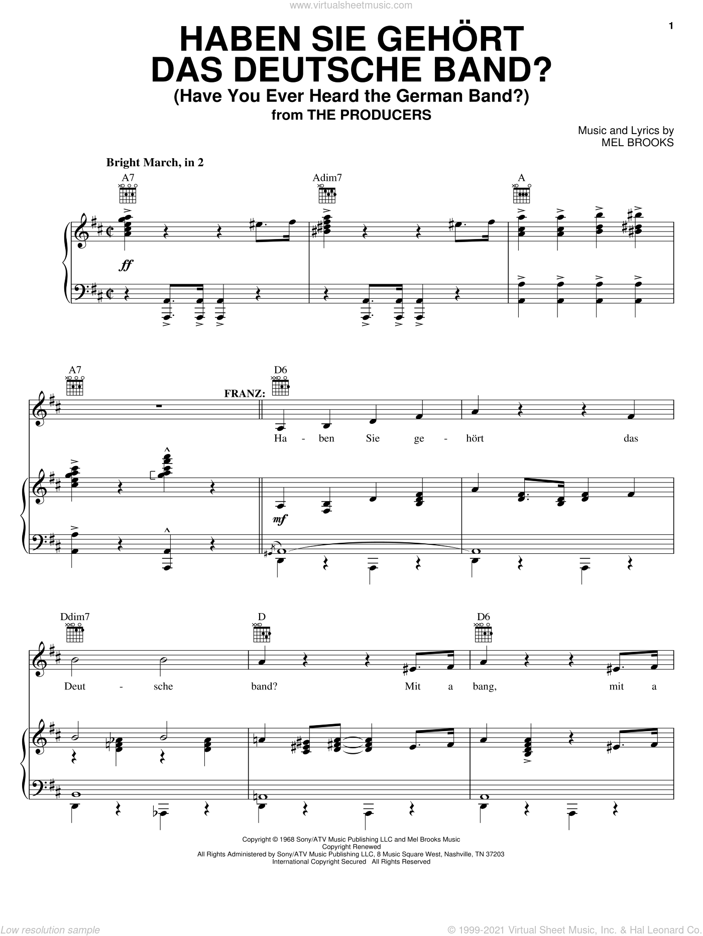 Haben Sie Gehort Das Deutsche Band? (Have You Ever Heard The German Band?) sheet music for voice, piano or guitar by Mel Brooks and The Producers (Musical), intermediate skill level