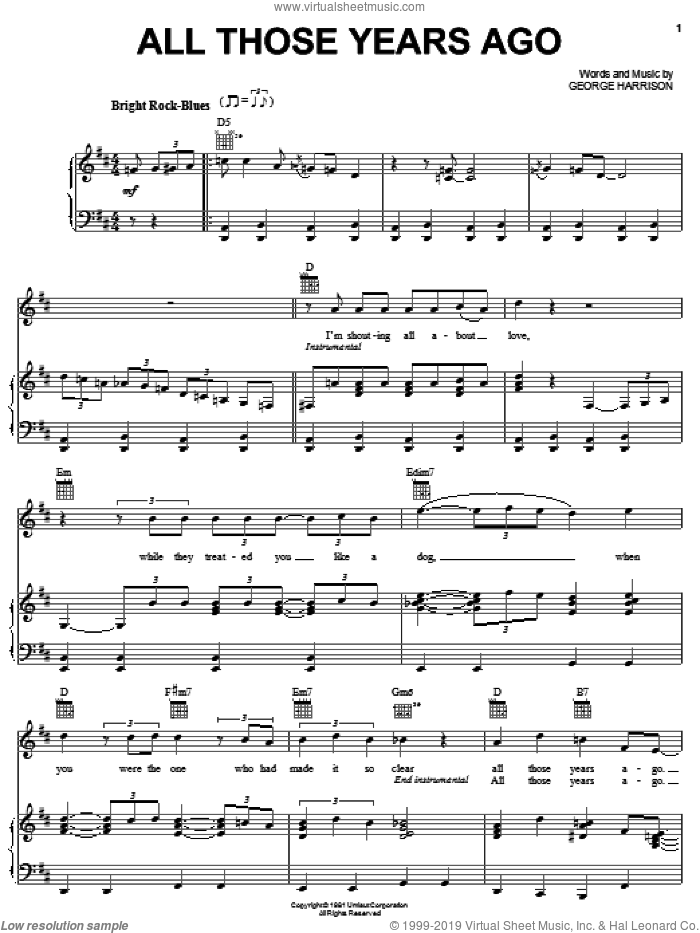 All Those Years Ago sheet music for voice, piano or guitar by George Harrison, intermediate skill level