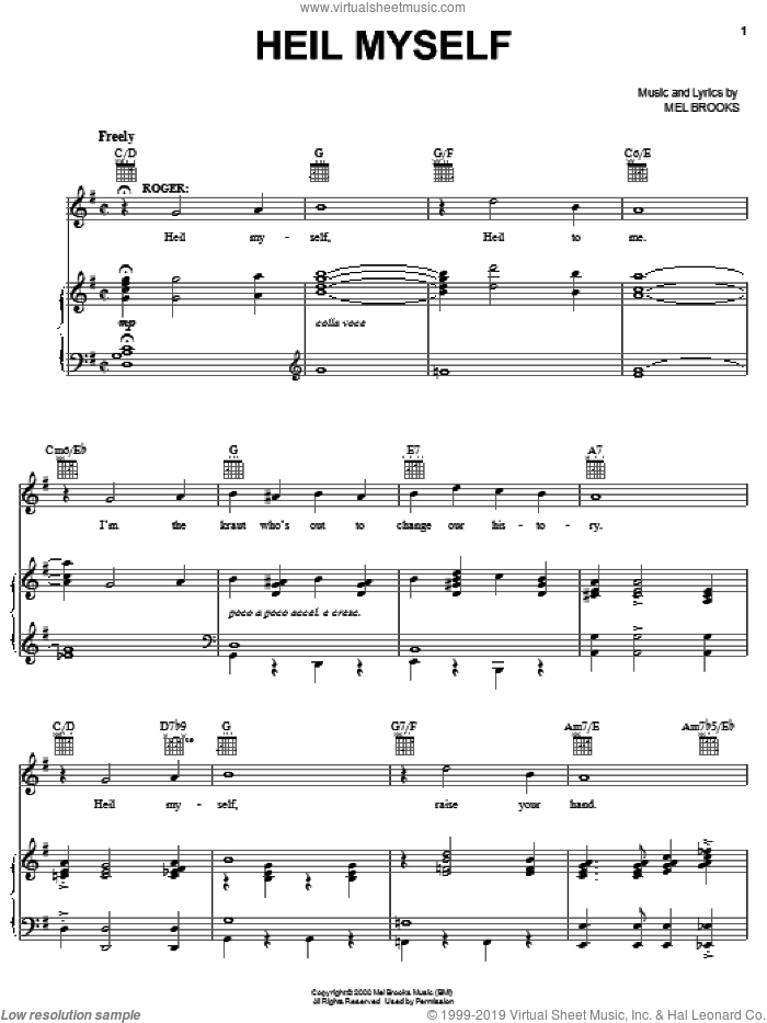 Heil Myself sheet music for voice, piano or guitar by Mel Brooks and The Producers (Musical), intermediate skill level