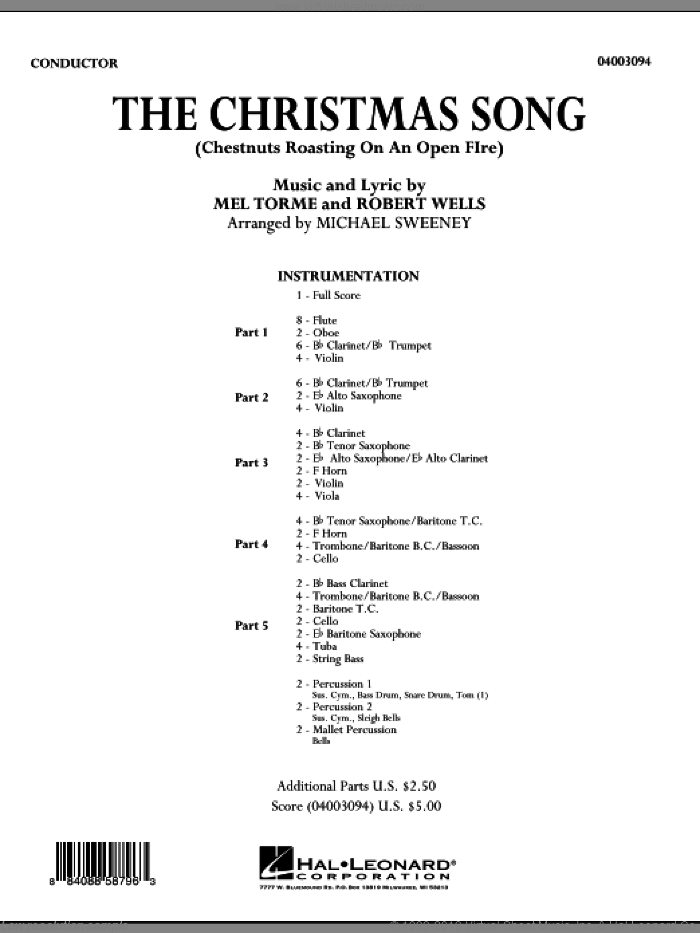The Christmas Song (Chestnuts Roasting On An Open Fire) (COMPLETE) sheet music for concert band by Mel Torme, Robert Wells and Michael Sweeney, intermediate skill level