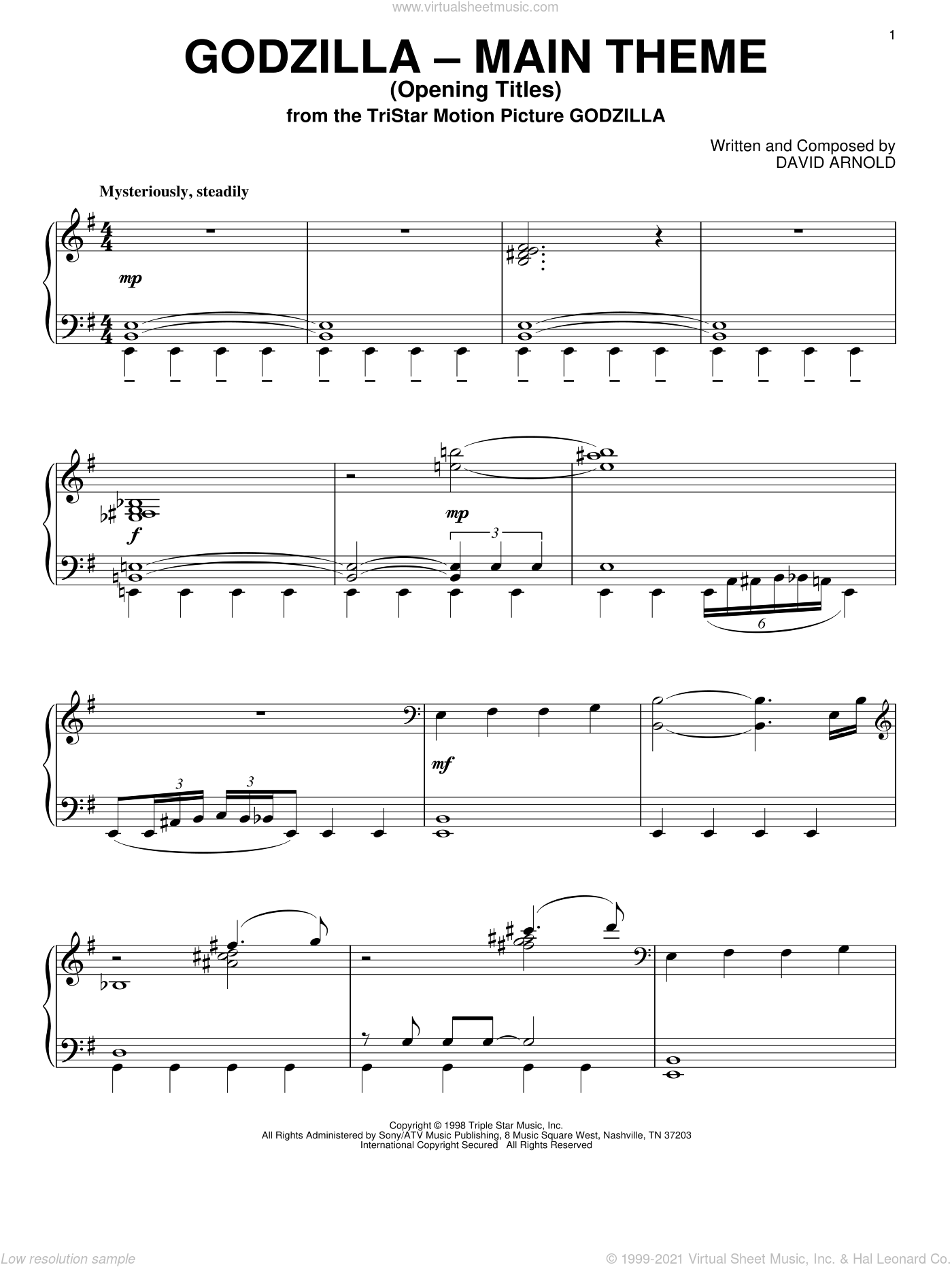 Godzilla - Main Theme (Opening Titles) sheet music for piano solo by David Arnold, intermediate. Score Image Preview.