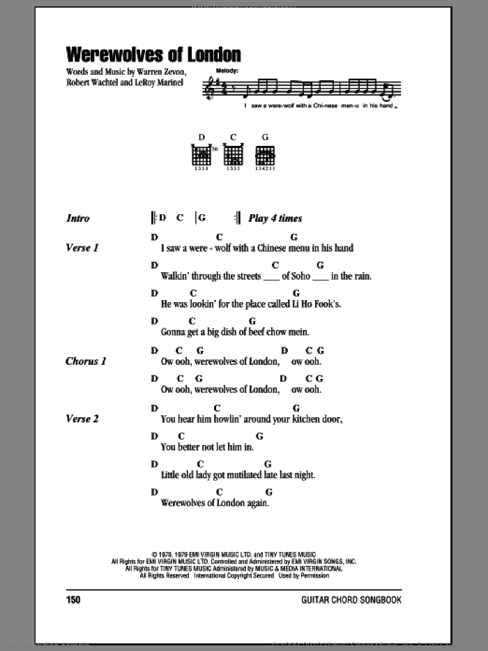 Werewolves Of London sheet music for guitar (chords) by Robert Wachtel and Warren Zevon. Score Image Preview.