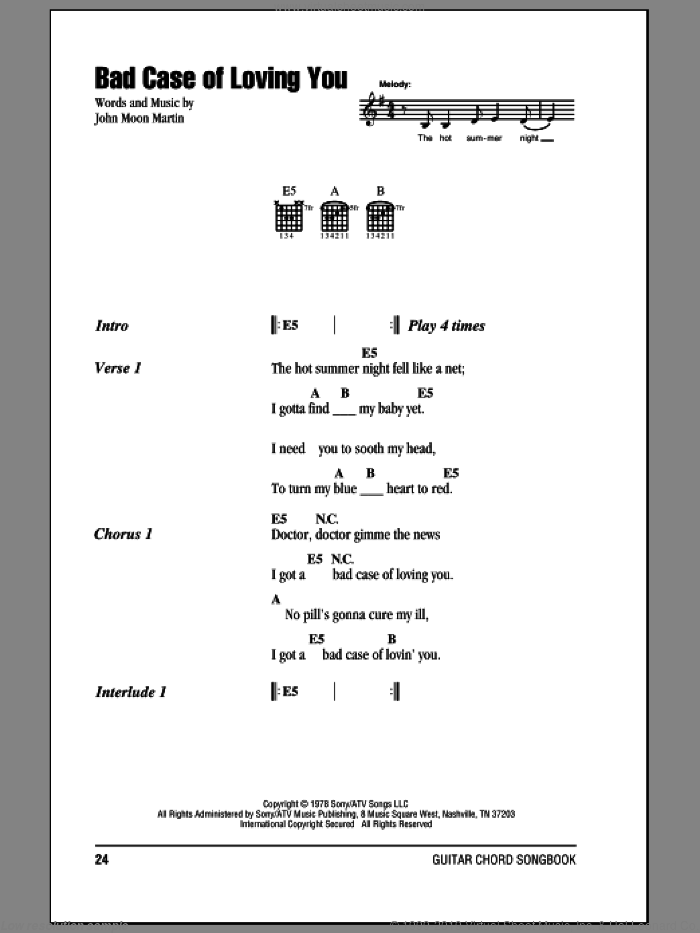 Bad Case Of Loving You sheet music for guitar (chords, lyrics, melody) by John Moon Martin