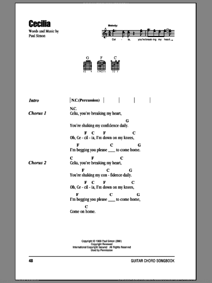 Cecilia sheet music for guitar (chords) by Simon & Garfunkel and Paul Simon, intermediate. Score Image Preview.