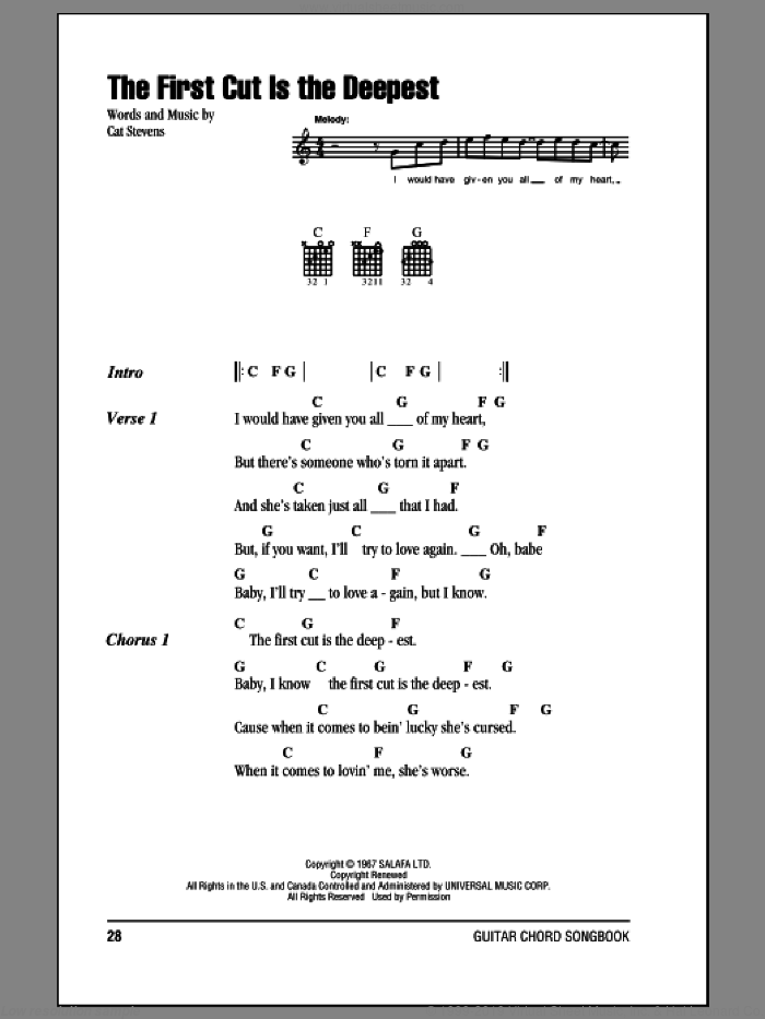 The First Cut Is The Deepest sheet music for guitar (chords) by Sheryl Crow, Rod Stewart and Cat Stevens. Score Image Preview.