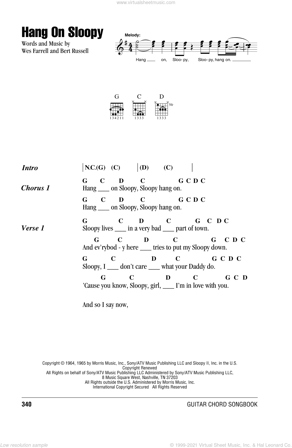 Hang On Sloopy sheet music for guitar (chords) by The McCoys, Bert Russell and Wes Farrell, intermediate skill level