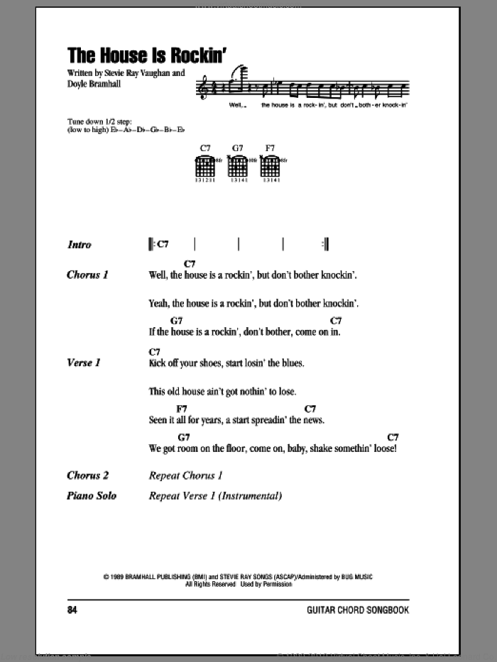 The House Is Rockin' sheet music for guitar (chords) by Stevie Ray Vaughan and Doyle Bramhall, intermediate