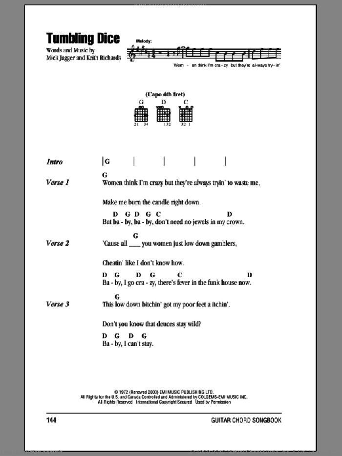 Tumbling Dice sheet music for guitar (chords) by The Rolling Stones, Keith Richards and Mick Jagger, intermediate skill level