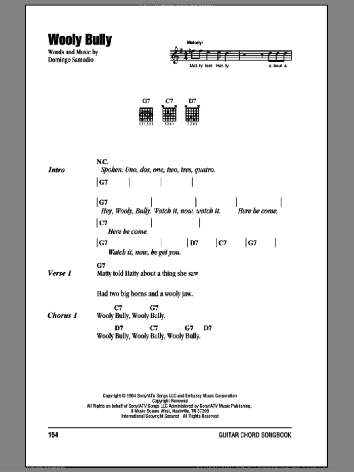 Wooly Bully sheet music for guitar (chords) by Domingo Samudio. Score Image Preview.