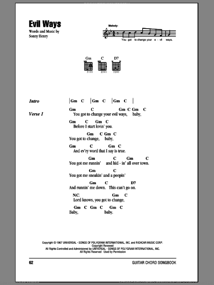 Evil Ways sheet music for guitar solo (chords, lyrics, melody) by Sonny Henry