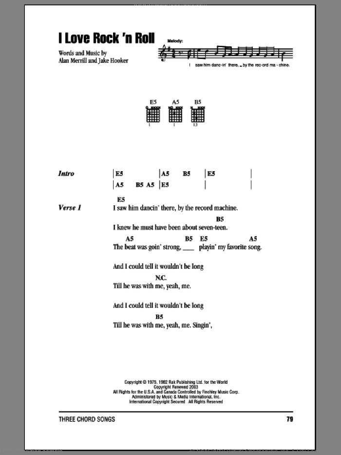 I Love Rock 'N Roll sheet music for guitar (chords) by Joan Jett & The Blackhearts, Alan Merrill and Jake Hooker, intermediate skill level