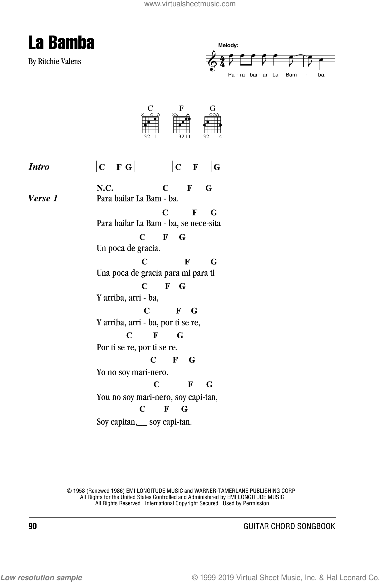 La Bamba sheet music for guitar (chords) by Ritchie Valens and Los Lobos. Score Image Preview.