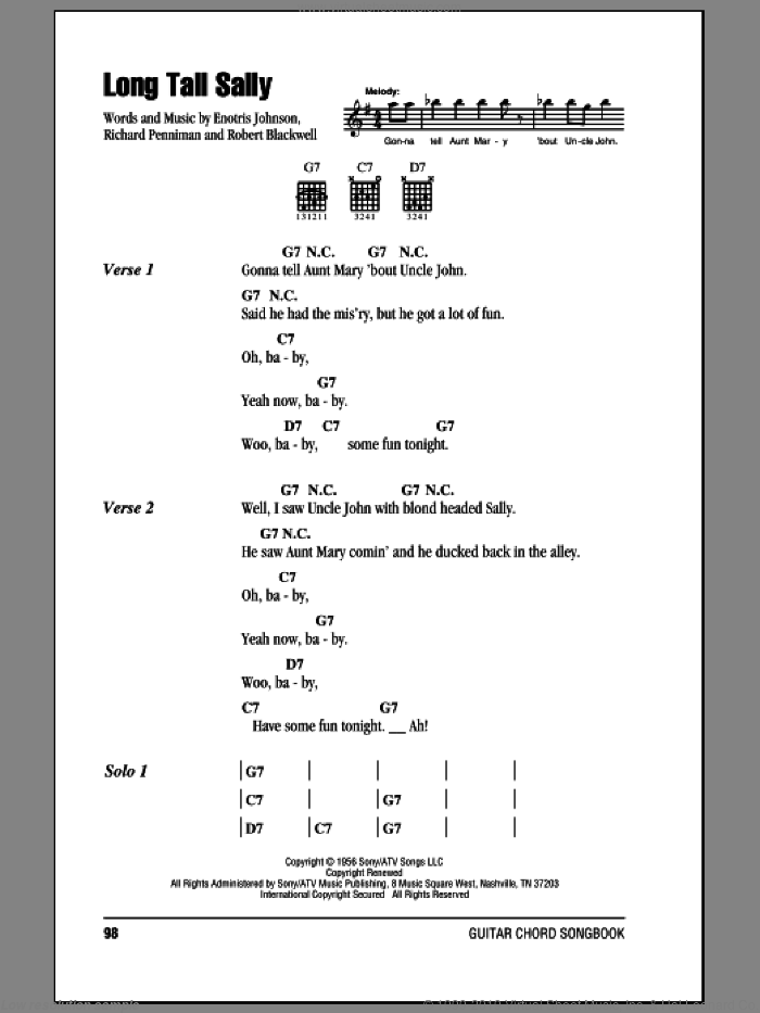 Long Tall Sally sheet music for guitar (chords) by Little Richard, Pat Boone, The Beatles, Enotris Johnson, Richard Penniman and Robert Blackwell, intermediate skill level
