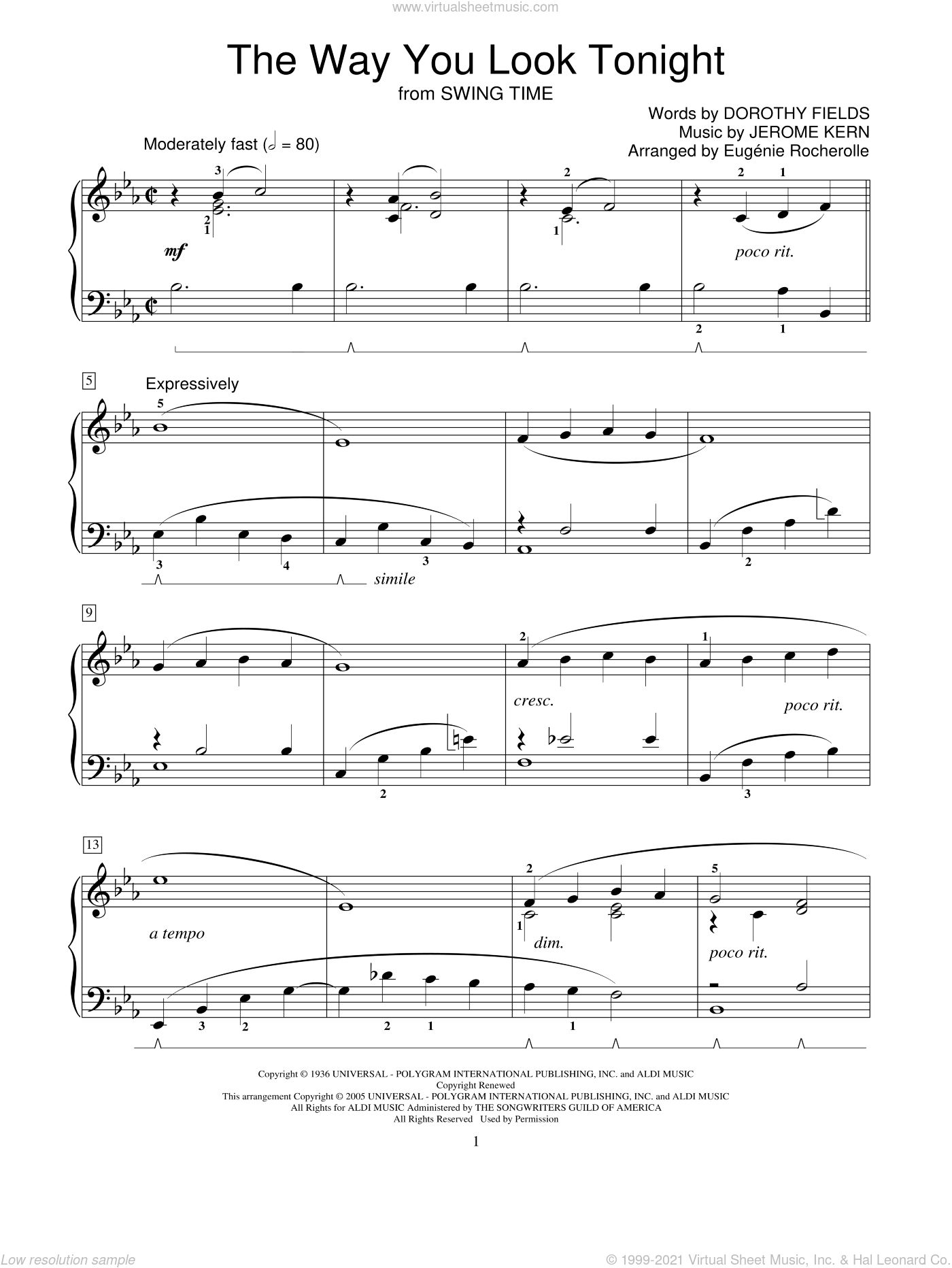 The Way You Look Tonight sheet music for piano solo (elementary) by Dorothy Fields