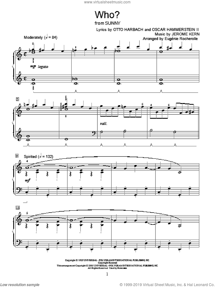 Who? sheet music for piano solo (elementary) by Jerome Kern, Miscellaneous, Oscar II Hammerstein and Otto Harbach, beginner piano (elementary)