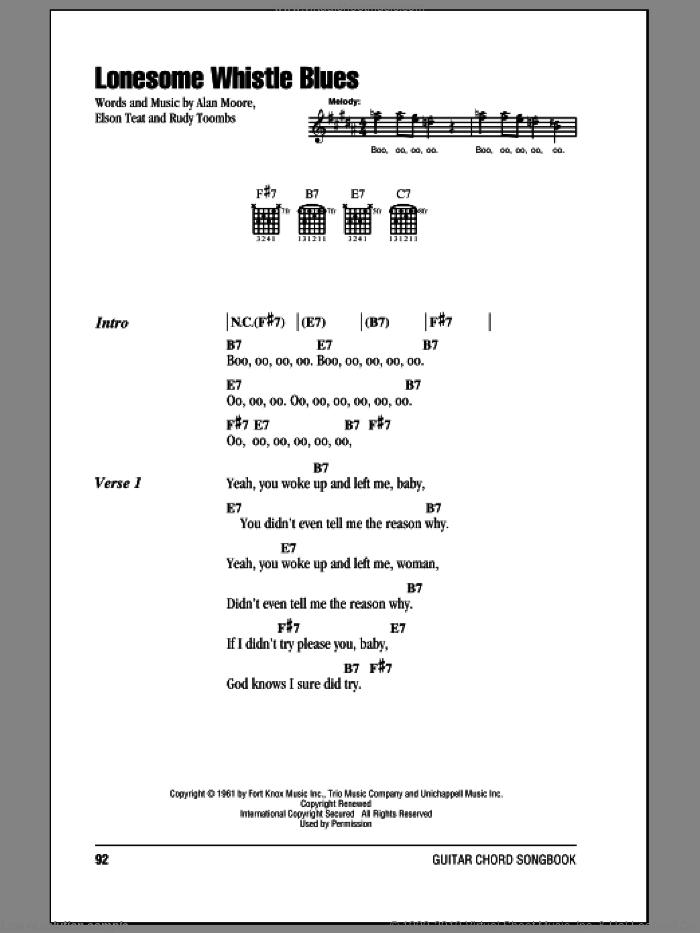 Lonesome Whistle Blues sheet music for guitar (chords) by Rudy Toombs, intermediate. Score Image Preview.