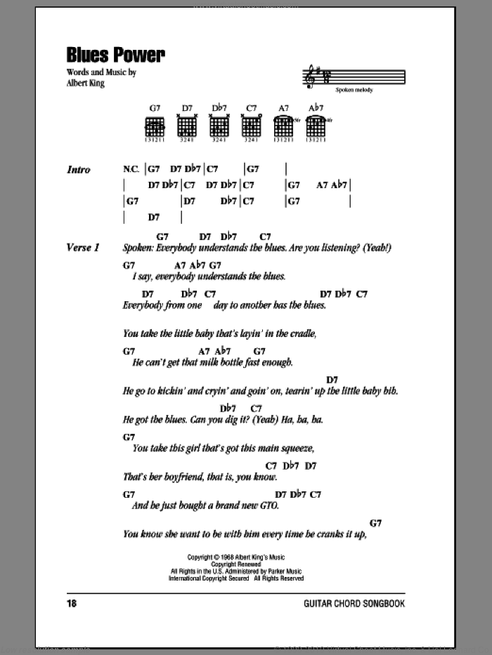 Blues Power sheet music for guitar (chords) by Albert King, intermediate guitar (chords). Score Image Preview.