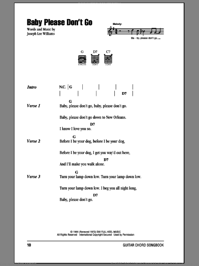 Baby, Please Don't Go sheet music for guitar (chords) by Joseph Lee Williams