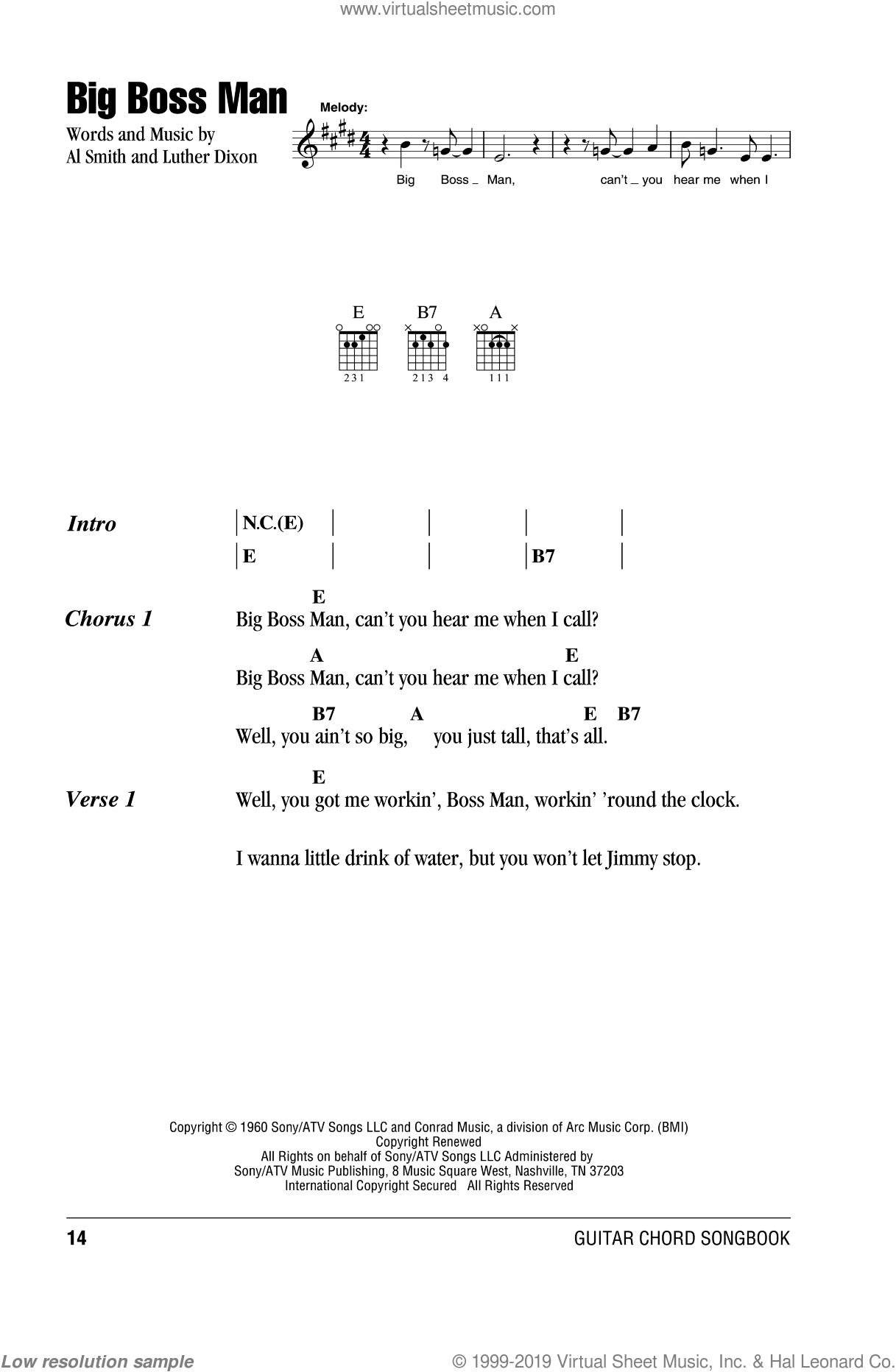 Big Boss Man sheet music for guitar (chords) by Luther Dixon
