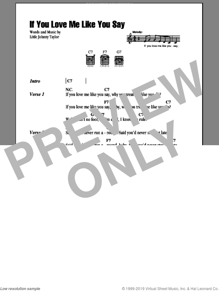 If You Love Me Like You Say sheet music for guitar (chords) by Albert Collins and Little Johnny Taylor, intermediate. Score Image Preview.