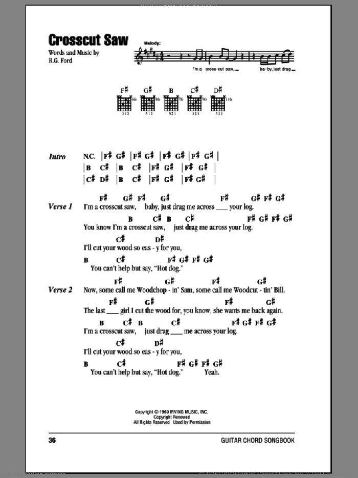Crosscut Saw sheet music for guitar (chords) by Robben Ford