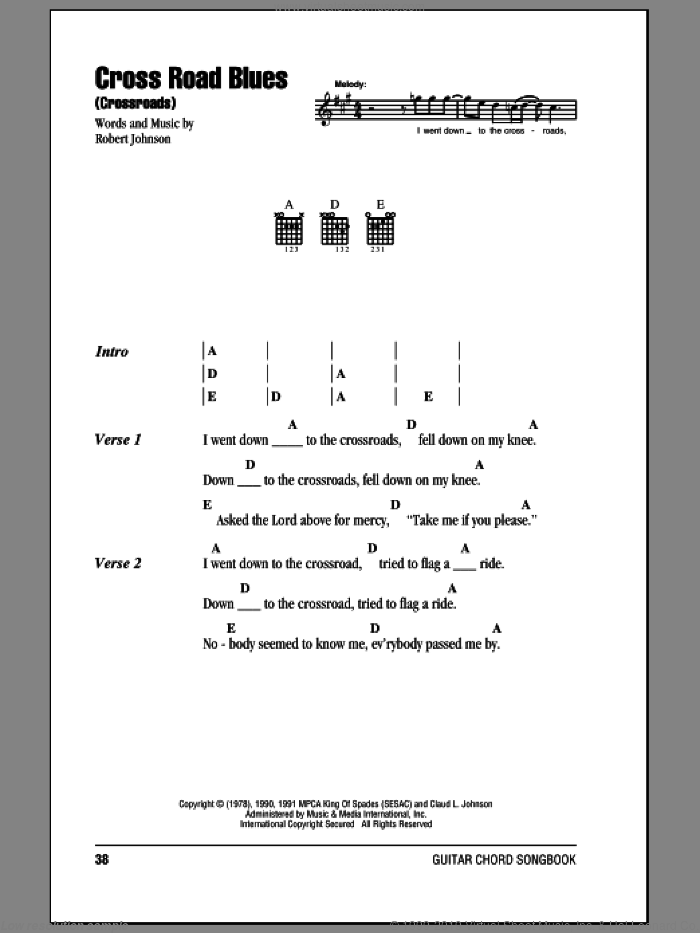 Cross Road Blues (Crossroads) sheet music for guitar (chords) by Cream and Robert Johnson. Score Image Preview.