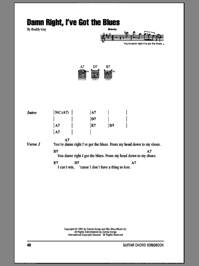 Damn Right, I've Got The Blues sheet music for guitar (chords) by Buddy Guy. Score Image Preview.