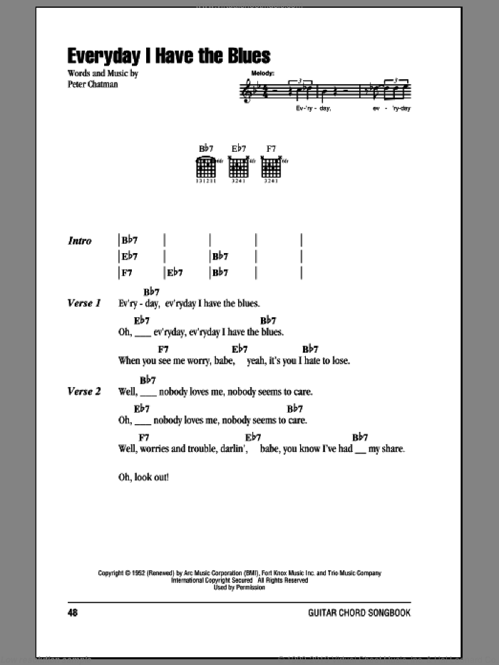 Every Day I Have The Blues sheet music for guitar (chords) by B.B. King and Peter Chatman, intermediate skill level