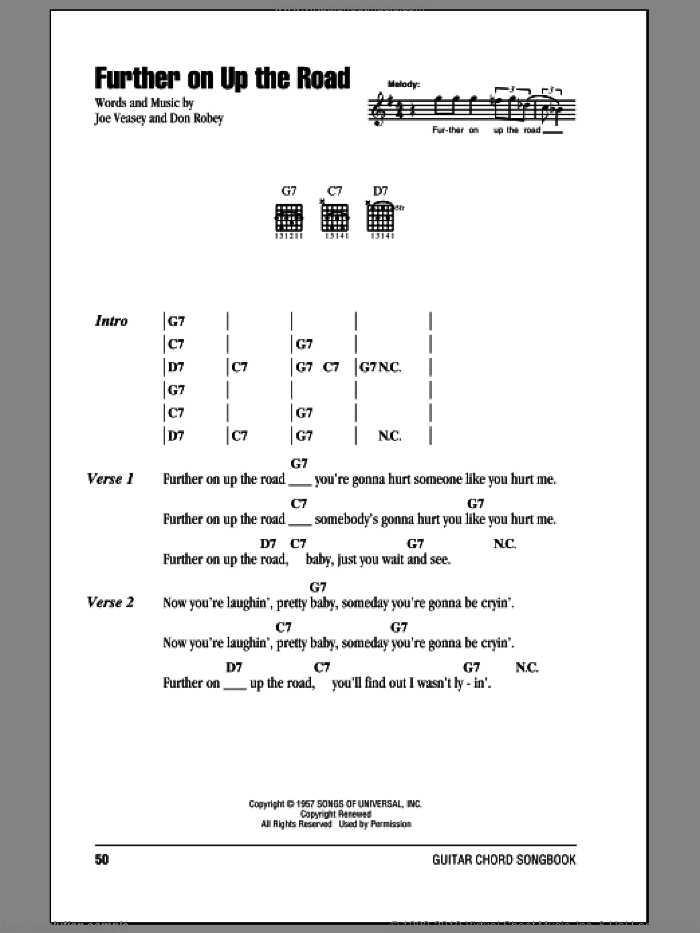 Further On Up The Road sheet music for guitar (chords) by Eric Clapton, intermediate guitar (chords). Score Image Preview.