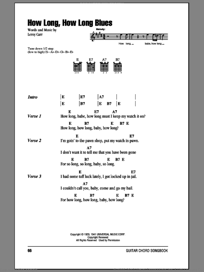 How Long, How Long Blues sheet music for guitar (chords) by Leroy Carr, intermediate skill level
