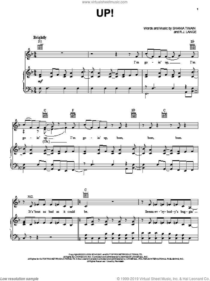 Up! sheet music for voice, piano or guitar by Shania Twain and Robert John Lange, intermediate skill level