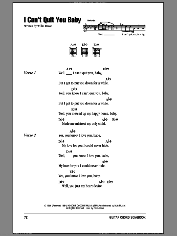 I Can't Quit You Baby sheet music for guitar (chords) by Willie Dixon and Otis Rush. Score Image Preview.