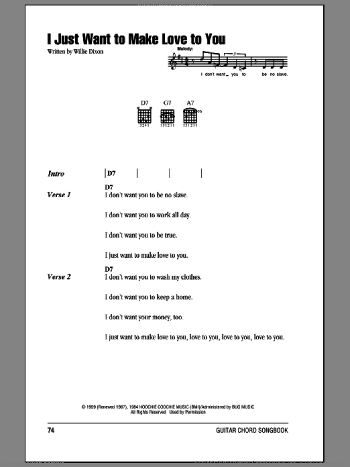 I Just Want To Make Love To You sheet music for guitar (chords) by Willie Dixon