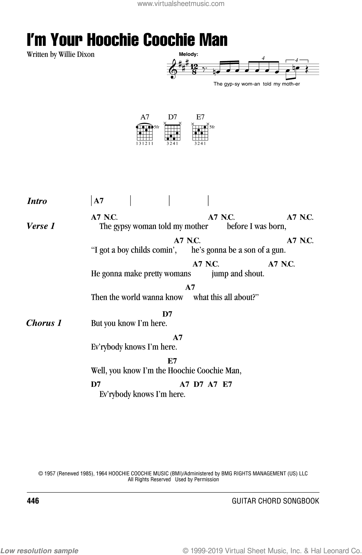 I'm Your Hoochie Coochie Man sheet music for guitar (chords) by Muddy Waters, Jimi Hendrix and Willie Dixon, intermediate guitar (chords). Score Image Preview.