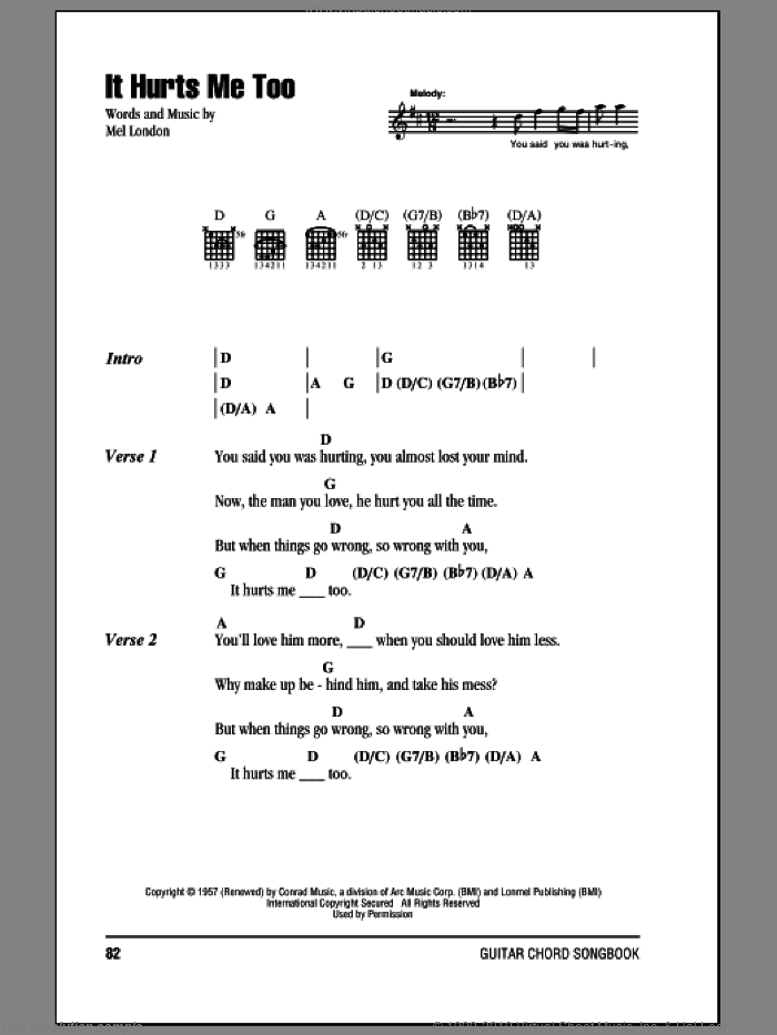 It Hurts Me Too sheet music for guitar (chords) by Elmore James and Eric Clapton. Score Image Preview.