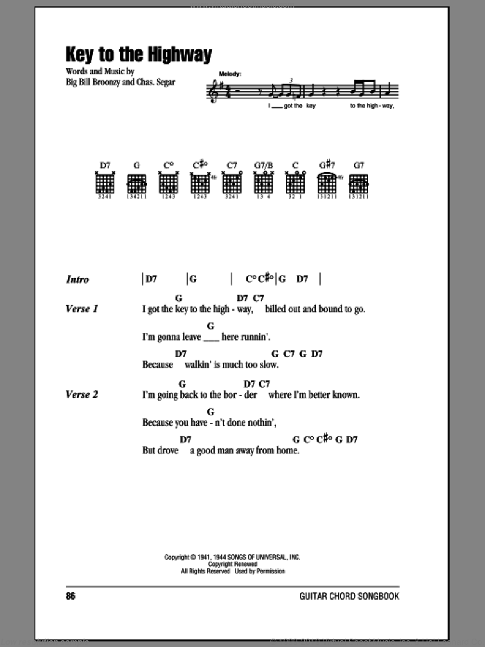 Clapton - Key To The Highway sheet music for guitar (chords)