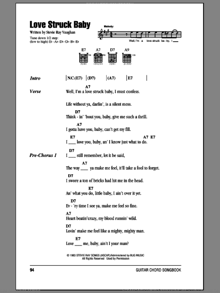 Love Struck Baby sheet music for guitar (chords) by Stevie Ray Vaughan, intermediate guitar (chords). Score Image Preview.