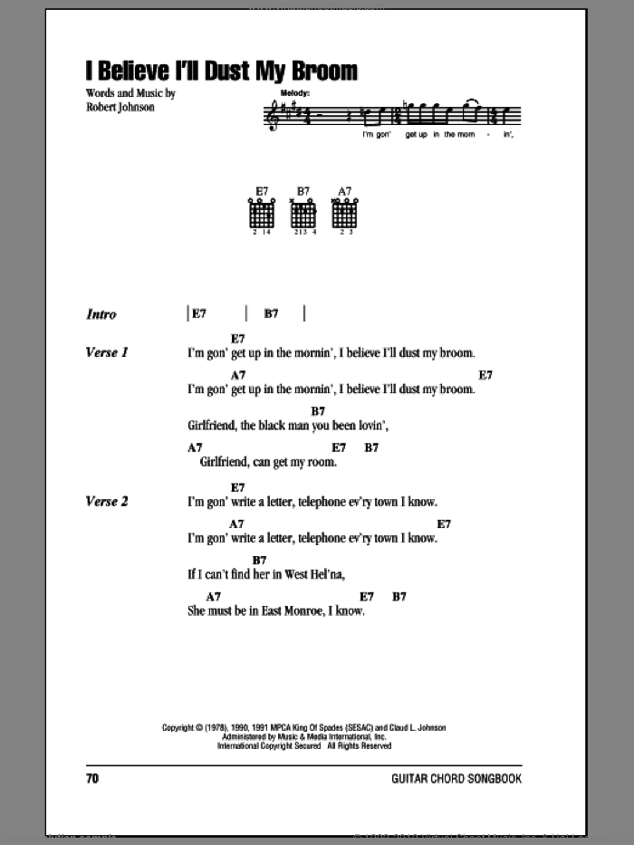 I Believe I'll Dust My Broom sheet music for guitar (chords) by Robert Johnson, intermediate guitar (chords). Score Image Preview.